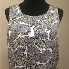 """Michael Kors Paisley Tank/Shell Perfect condition. White with black and yellow paisley print, pleated neckline, keyhole back, fully lined, 100% cotton.  Approx measurements while laying flat:  length 25"""", chest 21"""". MICHAEL Michael Kors Tops Tank Tops"""