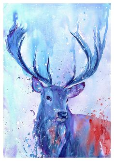 Stag deer in the snow watercolour large original animal painting signed art Watercolor Animals, Watercolor Paintings, Original Paintings, Watercolour, Deer Art, Stag Deer, Animal Paintings, Animal Drawings, Wildlife Art