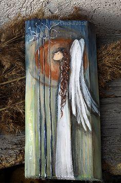 Anioł Zachwytu ręcznie malowany na desce