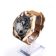 UV Printed Wolf Bamboo Wooden Watch - Genuine Brown Cow Leather Strap