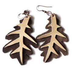 (un)intentional contemporary art in Transylvania: Oak leaf / coral leather earrings Printing Press, Leather Earrings, Contemporary Art, Coral, Christmas Ornaments, Holiday Decor, Prints, Christmas Jewelry, Christmas Decorations