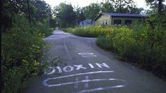 Photo of the deserted town after it was announced that dioxin was found in the soil.  Times Beach, Missouri