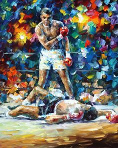 BOXER MUHAMMAD ALI MEMORIAL PAINTING - Oil Painting On Canvas By L.Afremov https://afremov.com/MUHAMMADALI-PALETTE-KNIFE-Oil-Painting-On-Canvas-By-Leonid-Afremov-Size-24-x30.html