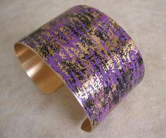 Patina Brass Cuff Bracelet  Purple by pattimacs on Etsy, $20.00