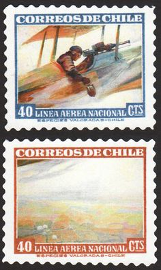 """Another example of the famous Chilean """"Over & Under"""" stamps, this time with art by Frank Schoonover. Argentine, Fauna, Stamp Collecting, Helicopters, Postage Stamps, Airplanes, Wwii, Chile, Postcards"""