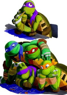 """Leo, Raph, and Mikey must be like: Whatcha doin' ? And Donnie's like, """"LEAVE ME ALONE!"""""""