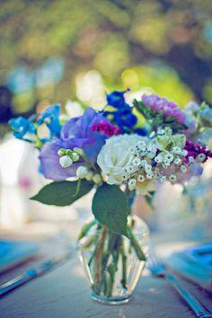 blue, purple & white rustic wedding table flowers