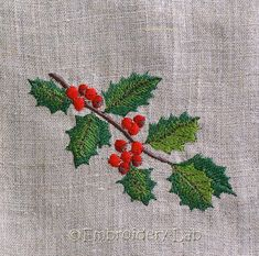 Code: christmas holly 0001 a Size: mm x mm Embroidery Leaf, Christmas Embroidery Patterns, Hardanger Embroidery, Silk Ribbon Embroidery, Vintage Embroidery, Embroidery Kits, Cross Stitch Embroidery, Machine Embroidery Designs, Embroidery Supplies