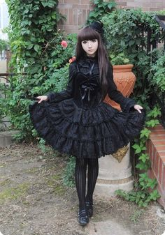 Lolita dress actually has various styles, gothic Lolita is the famous one which is characterized by dark make-up and clothes. Description from stylepecial.com. I searched for this on bing.com/images
