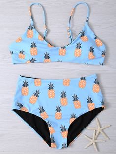 f31a9ec106599 Spaghetti Strap Pineapple Print Women s Bikini Set - LIGHT BLUE M Mobile  Pineapple Bathing Suit
