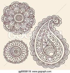 Henna Doodle Vector Design Elements