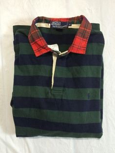 Polo Ralph Lauren Custom Fit Long Sleeve Striped Rugby Jersey Size XL Green/Blue #PoloRalphLauren #PoloRugby