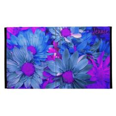 Blue N Purple Daisies iPad Folio *Personalize* iPad Case  Sold 12/2/13