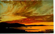 """Sunset Bar Harbour"" Frederic #Church. On view at #Olana through the end of October 2013 #Art #HudsonRiverSchool"