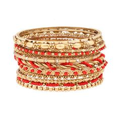 This gold-colored bangle set with pops of scarlet red will help spice up those bare arms. Work these together on one wrist or separated between the two for a boho chic feel that combines the old school and the new.