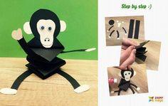 31 יצירות נייר מקסימות וחמודות שילדים יאהבו לעשות | דיילי באזז Paper Animal Crafts, Forest Animal Crafts, Ocean Animal Crafts, Animal Crafts For Kids, Paper Animals, Art For Kids, Monkey Crafts, Diy And Crafts, Arts And Crafts