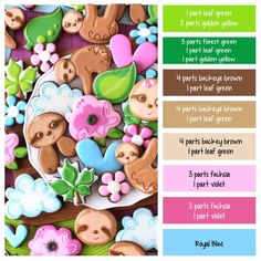 How to make sloth icing colors - a cookie decorating icing color palette with formulas ~ LilaLoa Cookie Decorating Icing, Cookie Icing, Royal Icing Cookies, Sugar Cookies, Food Decorating, Iced Cookies, Icing Color Chart, Color Mixing Chart, Color Charts