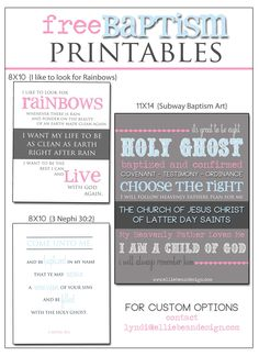 Hey guys, it's Lyndi from Ellie Bean Design Company! I've been working on this adorable girls baptism graphics and I thought I would share some free LDS Baptism printables with you! Dow...