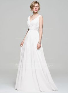 A-Line/Princess V-neck Floor-Length Ruffle Lace Beading Sequins Zipper Up Regular Straps Sleeveless No Other Colors Spring Summer Fall General Plus Chiffon Bridesmaid Dress
