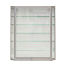 3x3 Wall Mounted Display Case W Slider Doors Amp Mirror Back