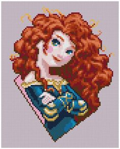 PDF Cross Stitch pattern 0003.Princess Merida Brave par PIXcross