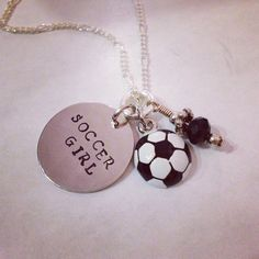 """Sporty Girl """"Soccer Girl"""" Hand Stamped Charm Necklace on Etsy, $20.00"""