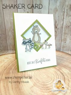stampin up stempeltier we must celebrate schüttelkarte shaker card racoon