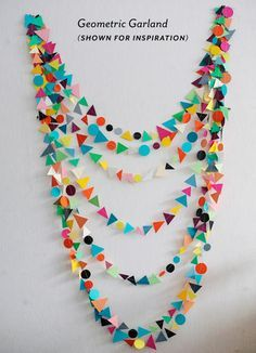 geometric garland weekday carnival : THIS IS FUN! Diy And Crafts, Crafts For Kids, Arts And Crafts, Paper Crafts, Paper Art, Diy Pompon, Party Girlande, Bunting Garland, Garland Ideas