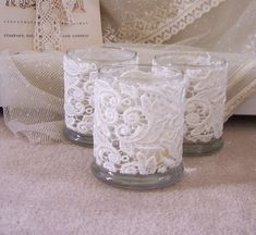 Make for the tables.Ivory lace wedding candle LARGE holders for centerpiece, tables, vintage lace three holders. via Etsy. Perfect use for empty JewelScent jars! Diy Wedding, Wedding Flowers, Dream Wedding, Wedding Day, Wedding Centerpieces, Wedding Decorations, Wedding Tables, Table Decorations, Lace Weddings
