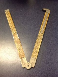 "Antique RARE Stanley Bone Brass and German Silver 12"" Folding Ruler | eBay"