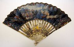 Fan, 18th century.  French.  Paper, ivory, mother of pearl.  Metropolitan Museum of Art.  Fans were popular during this time to show off the hands.  Generally very elaborate, and different fans were used for different occasions.