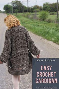 Diy Crochet Cardigan, Crochet Coat, Crochet Cardigan Pattern, Crochet Jacket, Crochet Yarn, Crochet Clothes, Easy Crochet, Crochet Sweaters, Crochet Jumpers