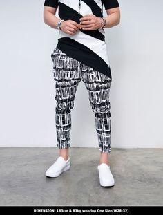 Abstract Print Slim Short Length Baggy-Sweatpants 290 by Guylook.com