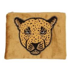 Unleash your look's wild side with this leopard pouch from À la. Fabulous as a purse or even an evening clutch, this pouch is made from silky soft golden velvet. Artfully handmade in India, it has bee Soul Collage, Motif Leopard, Clutch, Punch Needle, Luxury Gifts, Beaded Embroidery, Beading Patterns, Saints, Gifts For Her