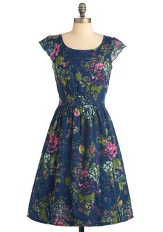 Get What You Dessert Dress in Flowers by Emily and Fin - Floral, Buttons, Pleats, Pockets, Ruffles, A-line, Cap Sleeves, Multi, Yellow, Green, Blue, Pink, Party, Vintage Inspired, Long