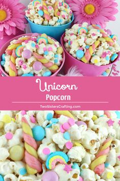 This Unicorn Popcorn is sweet and salty and chock full of sprinkles, candy and tasty candy unicorn horns. It is both fun and delicious, a great combination! A fun anytime snack that would also be a great Party food at a Unicorn Birthday Party or a My Little Pony Birthday Party. Pin this easy to make dessert for later and follow us for more great Popcorn Recipe Ideas. #unicorns #mylittlepony #Popcorn #PopcornRecipes #SweetPopcorn #TwoSistersCrafting