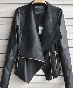 Fashion Slim Fit Doppel Reverskragen Chic PU-Leder Mantel Jacke Black for big sale!