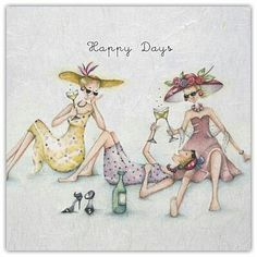 "Cards ""Happy Days""- Berni Parker Designs ღ✟ Birthday Cards For Women, Birthday Images, Birthday Quotes, Humor Birthday, Happy Birthday Wishes, Birthday Greetings, Birthday Sentiments, Art Carte, Art Impressions"