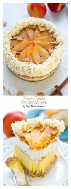 Peach Cobbler Ice Cream Cake with Cinnamon Toast Crunch Cereal crust makes a refreshing and fun summer dessert