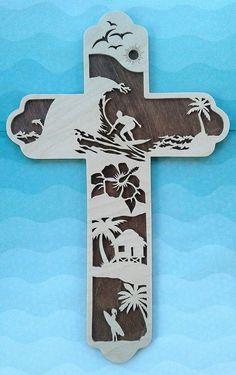 Surfer Cross, Gift for Surfers, Surf Faith, Ocean Cross, Christian Surfer, Gift for Ocean Lover, Handmade Cross