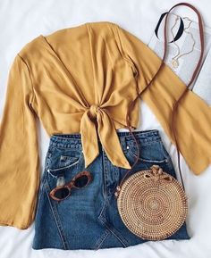 Weekend Wishes Mustard Yellow Tie-Front Long Sleeve Crop Top, Summer Outfits, Weekend Wishes Mustard Yellow Tie-Front Long Sleeve Crop Top Hipster Outfits, Rave Outfits, Grunge Outfits, Outfits For Teens, Dress Outfits, Casual Outfits, Fashion Outfits, Women's Casual, Hipster Clothing