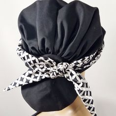 Scarf Beanie Hat Headcovers Low Pony Tail Womens Head Cover Black White Scarf #headcovers #Beanie #Casual
