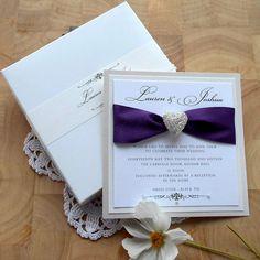 FREYA BOXED WEDDING INVITATION ~ SAMPLE  An elegant, luxury handmade wedding invitation with beautiful satin ribbon and silver filigree heart with