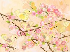 $224 Amazon.com: Oopsy Daisy Fine Art for Kids Cherry Blossom Birdies Butter Cream Stretched Canvas Art by Winborg Sisters, 40 by 30-Inch: Home & Kitchen
