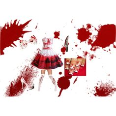 Cute bloody Halloween costume for teens it is so cute ahhhhh by likaboss123 on Polyvore featuring polyvore, fashion and style
