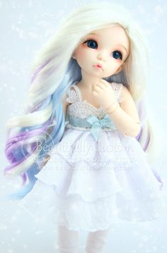 Winter Fairy Doll Wig 6-7 BJD Littlefee by BeautifullyCustomAG