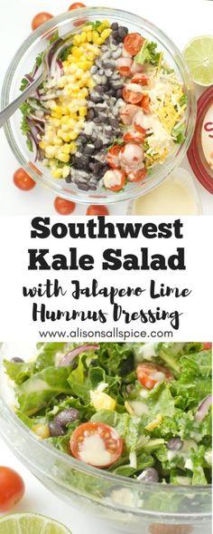 Southwest Kale Salad with Jalapeno Lime Hummus Dressing by Alison's Allspice, hummus ideas, salad recipe, southwest salad recipe, kale salad, recipe, vegetarian recipe, gluten free recipe