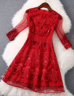 Embroidered Lace Dress with in Red