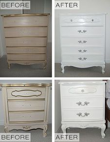 update french provincal dresser set, painted furniture, Before and After