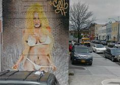 Pam Anderson mural, Dinsmore and Richmond, East New York. This is also at the southern end of Force Tube Avenue, now a parking lot.